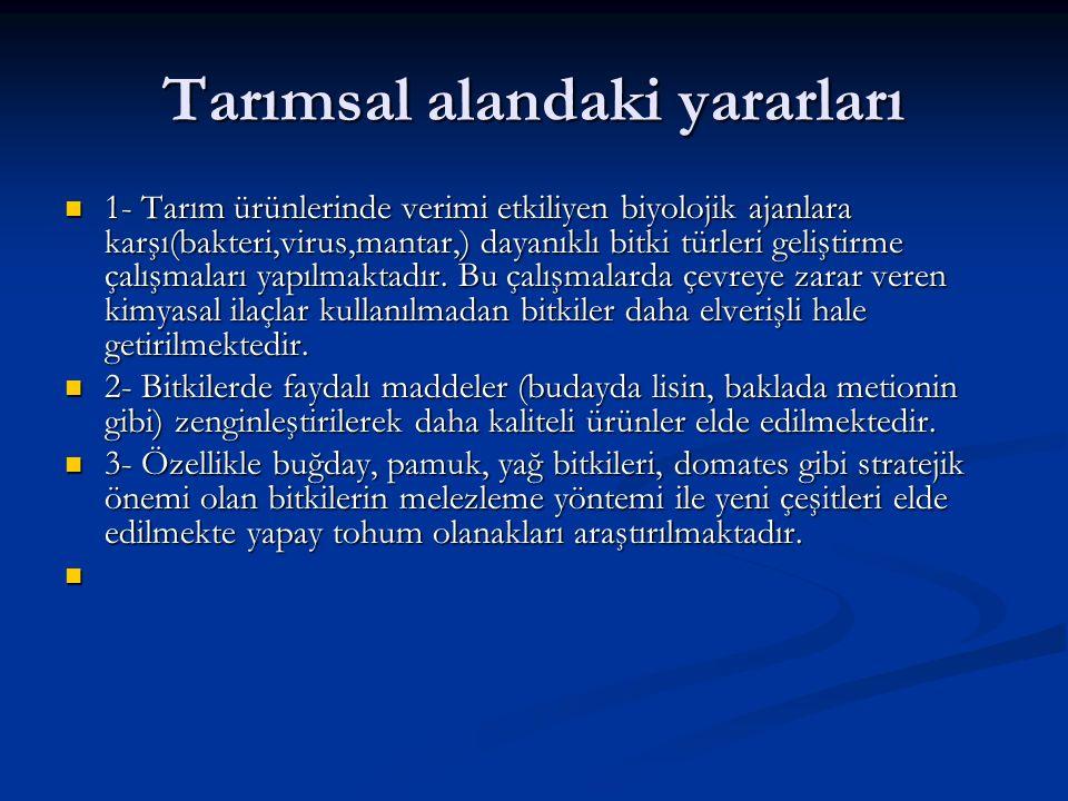 Hayvancılık alanındaki yararları 1- Türkiye için özgün olan hayvan ırklarının genomları belirlenerek devamlılığı sağlanmaktadır.