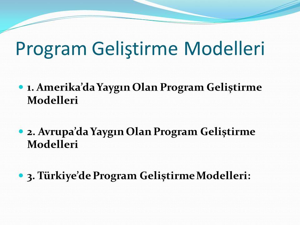 Program Geliştirme Modelleri 1. Amerika'da Yaygın Olan Program Geliştirme Modelleri 2. Avrupa'da Yaygın Olan Program Geliştirme Modelleri 3. Türkiye'd