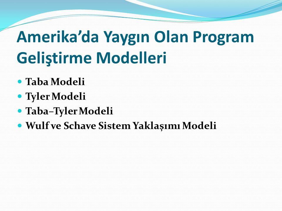 Amerika'da Yaygın Olan Program Geliştirme Modelleri Taba Modeli Tyler Modeli Taba–Tyler Modeli Wulf ve Schave Sistem Yaklaşımı Modeli