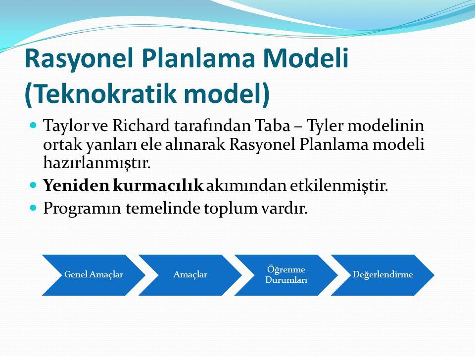 Rasyonel Planlama Modeli (Teknokratik model) Taylor ve Richard tarafından Taba – Tyler modelinin ortak yanları ele alınarak Rasyonel Planlama modeli h