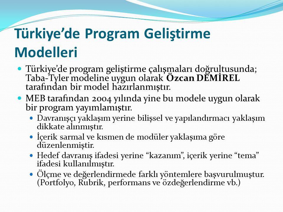 Türkiye'de Program Geliştirme Modelleri Türkiye'de program geliştirme çalışmaları doğrultusunda; Taba-Tyler modeline uygun olarak Özcan DEMİREL tarafı