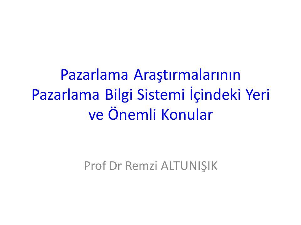 Pazarlama Araştırmalarının Pazarlama Bilgi Sistemi İçindeki Yeri ve Önemli Konular Prof Dr Remzi ALTUNIŞIK