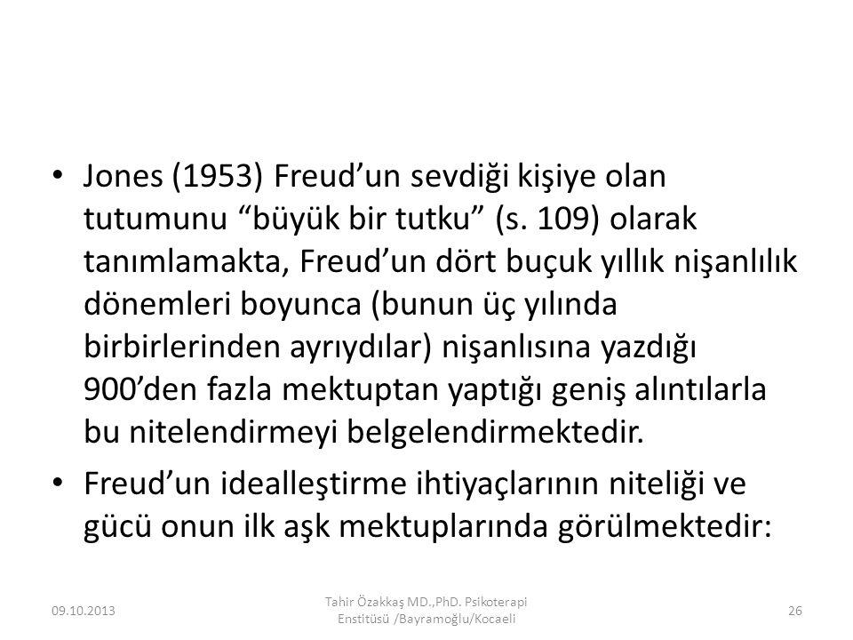 Jones (1953) Freud'un sevdiği kişiye olan tutumunu büyük bir tutku (s.