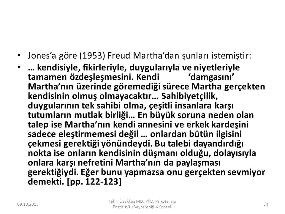 Jones'a göre (1953) Freud Martha'dan şunları istemiştir: … kendisiyle, fikirleriyle, duygularıyla ve niyetleriyle tamamen özdeşleşmesini.