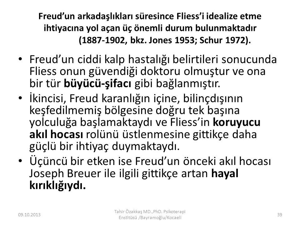 Freud'un arkadaşlıkları süresince Fliess'i idealize etme ihtiyacına yol açan üç önemli durum bulunmaktadır (1887-1902, bkz. Jones 1953; Schur 1972). F