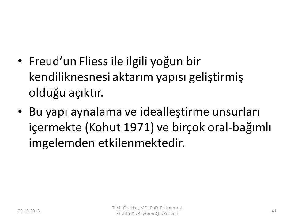 Freud'un Fliess ile ilgili yoğun bir kendiliknesnesi aktarım yapısı geliştirmiş olduğu açıktır. Bu yapı aynalama ve idealleştirme unsurları içermekte