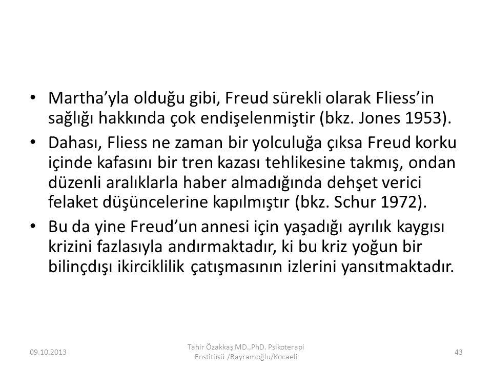 Martha'yla olduğu gibi, Freud sürekli olarak Fliess'in sağlığı hakkında çok endişelenmiştir (bkz. Jones 1953). Dahası, Fliess ne zaman bir yolculuğa ç