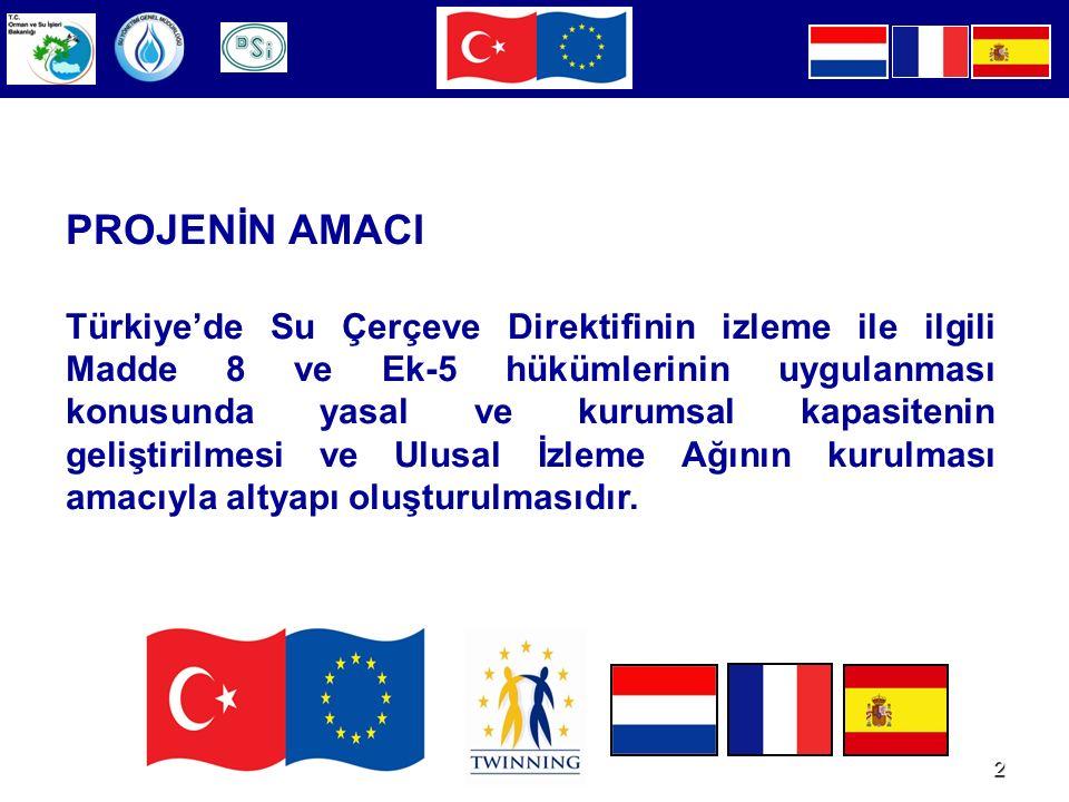 2 PROJENİN AMACI Türkiye'de Su Çerçeve Direktifinin izleme ile ilgili Madde 8 ve Ek-5 hükümlerinin uygulanması konusunda yasal ve kurumsal kapasitenin geliştirilmesi ve Ulusal İzleme Ağının kurulması amacıyla altyapı oluşturulmasıdır.