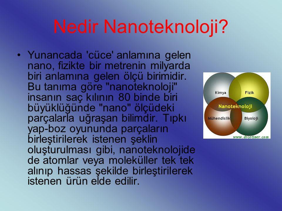 Nedir Nanoteknoloji? Yunancada 'cüce' anlamına gelen nano, fizikte bir metrenin milyarda biri anlamına gelen ölçü birimidir. Bu tanıma göre