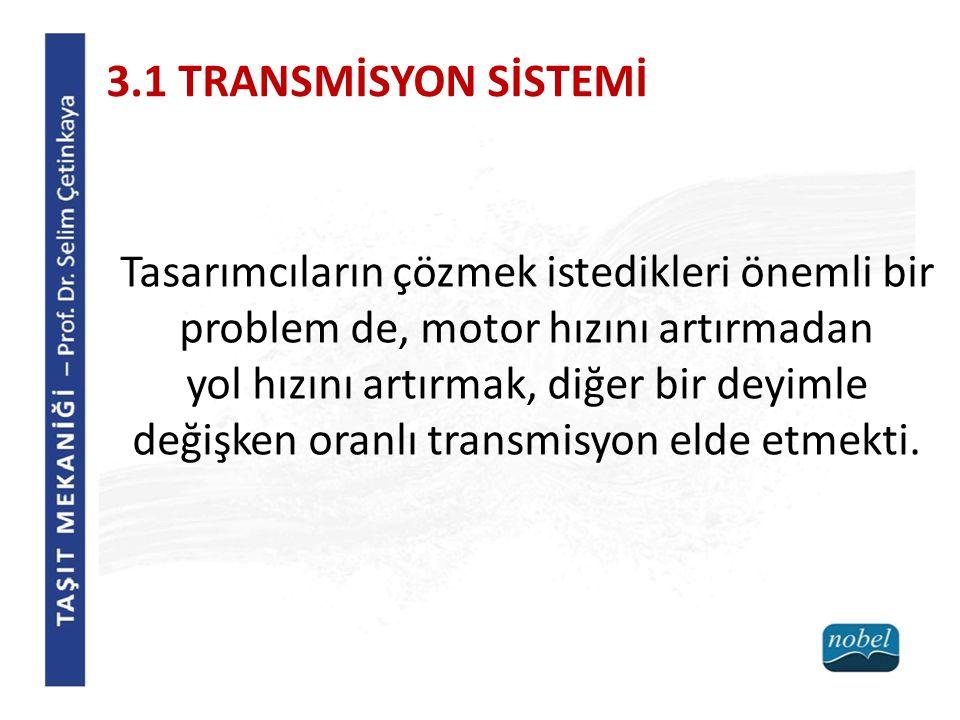 3.1 TRANSMİSYON SİSTEMİ Tasarımcıların çözmek istedikleri önemli bir problem de, motor hızını artırmadan yol hızını artırmak, diğer bir deyimle değişk
