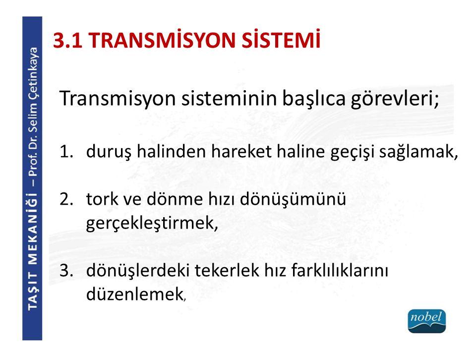 Transmisyon sisteminin başlıca görevleri; 1.duruş halinden hareket haline geçişi sağlamak, 2.tork ve dönme hızı dönüşümünü gerçekleştirmek, 3.dönüşler