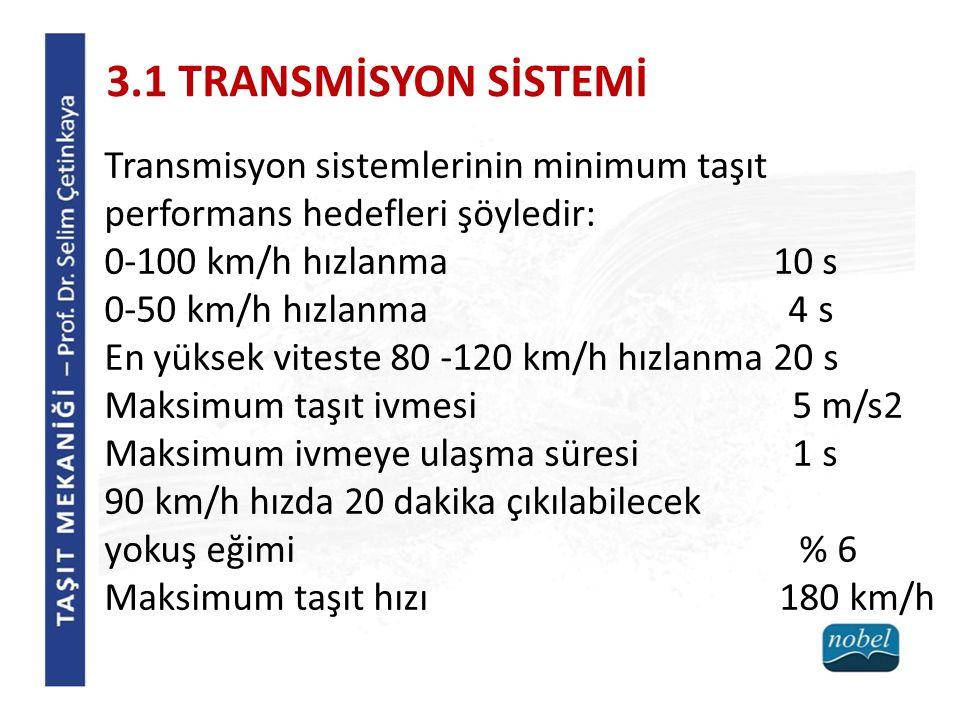 Transmisyon sistemlerinin minimum taşıt performans hedefleri şöyledir: 0-100 km/h hızlanma 10 s 0-50 km/h hızlanma 4 s En yüksek viteste 80 -120 km/h