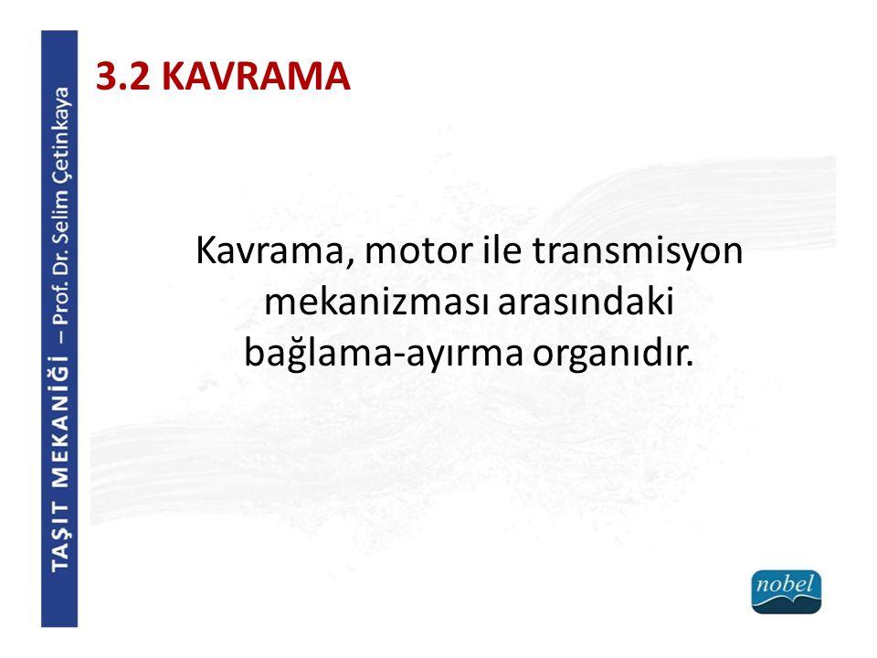 3.2 KAVRAMA Kavrama, motor ile transmisyon mekanizması arasındaki bağlama-ayırma organıdır.