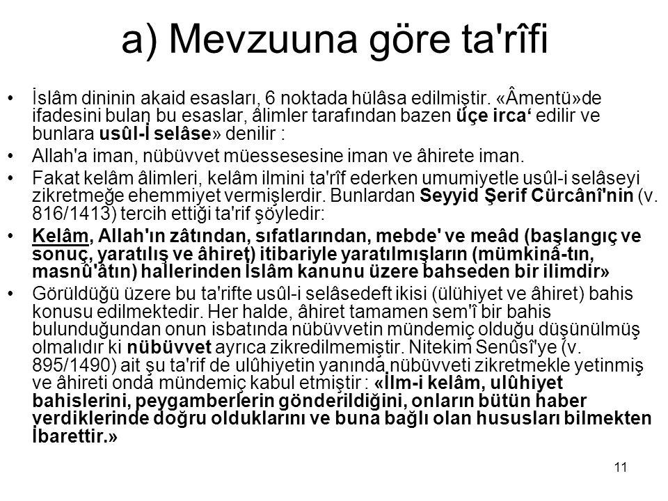 11 a) Mevzuuna göre ta'rîfi İslâm dininin akaid esasları, 6 noktada hülâsa edilmiştir. «Âmentü»de ifadesini bulan bu esaslar, âlimler tarafından bazen