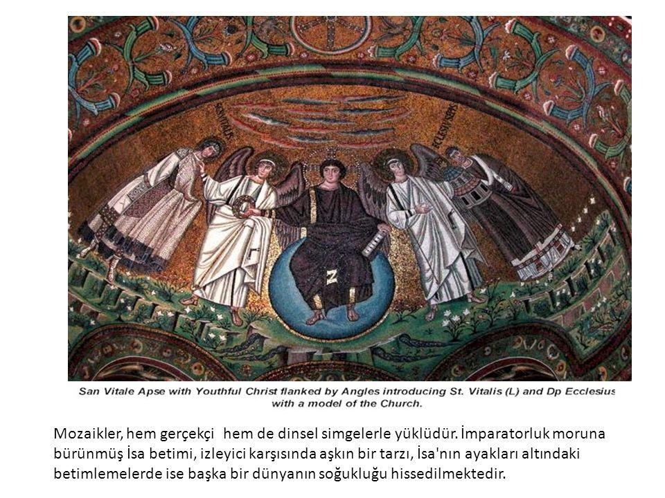 Mozaikler, hem gerçekçi hem de dinsel simgelerle yüklüdür.