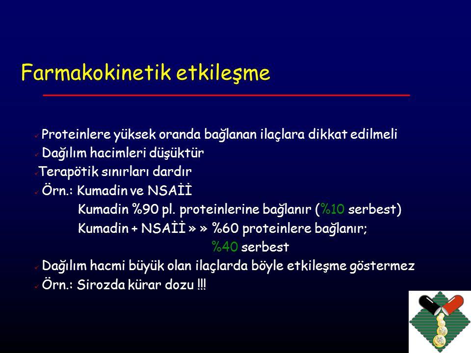 Farmakokinetik etkileşme Metabolizma hepatik enzim ( CYP 450) indüksiyonu veya inhibisyonu CYP 3A4 Sitokrom p450 enzimini etkileyen ilaçlar İndükleyenler İnhibitörler Antikonvülzanlar Antibiyotikler Fenitoin Eritromisin Karbamazepin Fluorokinolonlar Rifampin Antiviral Barbitüratlar Antifungaller Etanol KKB Sigara dumanı Antiasitler Glukokortikoidler Grapefruit suyu