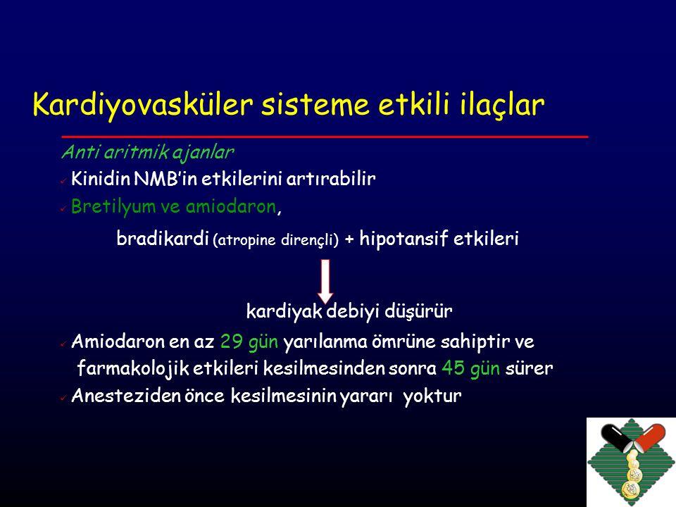 Kardiyovasküler sisteme etkili ilaçlar Kardiyovasküler stimülanlar Erken kontraksiyonlar nedeniyle (ritodrin); Bronkospazm nedeniyle (terbutalin) β2 agonistler taşiaritmiler veya ektopik atımlar ortaya çıkabilir