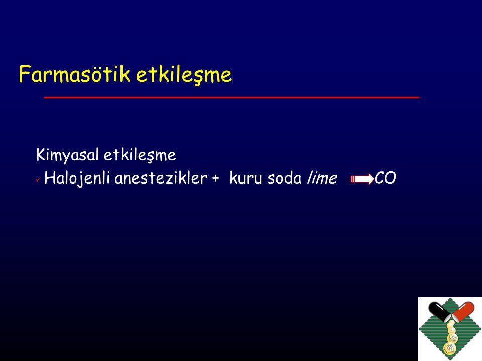 Farmakokinetik etkileşme İlacın Alınması ( uptake ) Dağılımı (proteinlere bağlanma) reseptör düzeyinde ilaç Metabolizması konsantrasyonu değişir Atılması Uptake Adrenalin + LA N 2 O (ikincil gaz etkisi) + volatil anestezik Metoklopramid, diazepam absrobsiyonu nu Opioidler, ilaç absorpsiyonunu geciktirirler