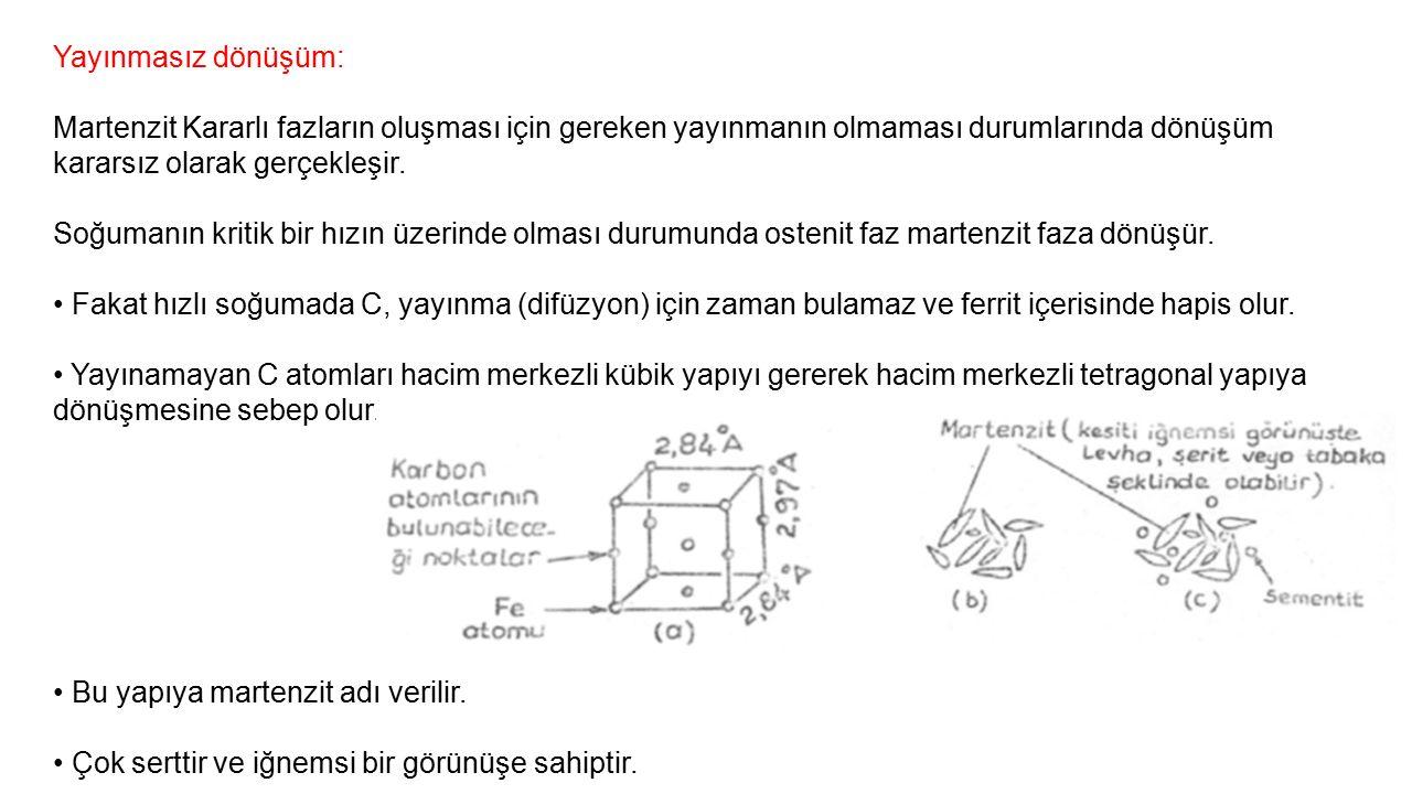 Dönüşüm Sertleşmesi (Çekirdeğe kadar sertleştirme) Çelik malzemeye dönüşüm sertleşmesi uygulanabilmesi için; %C >%0.2 olması gerekir.