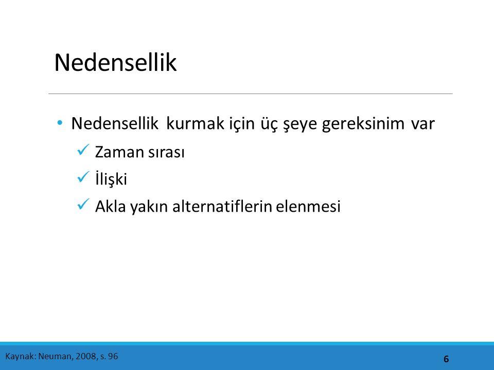 Nedensellik: Alternatifleri elemek 17 Kaynak: Neuman, 2008, s.