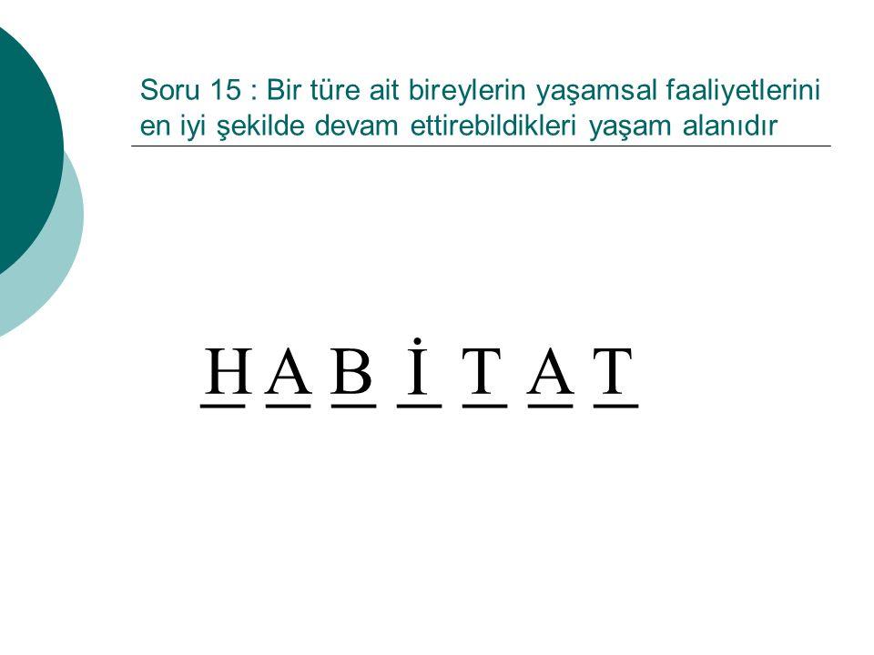 Soru 15 : Bir türe ait bireylerin yaşamsal faaliyetlerini en iyi şekilde devam ettirebildikleri yaşam alanıdır _ _ _ _ _ _ _ İ TTAHAB