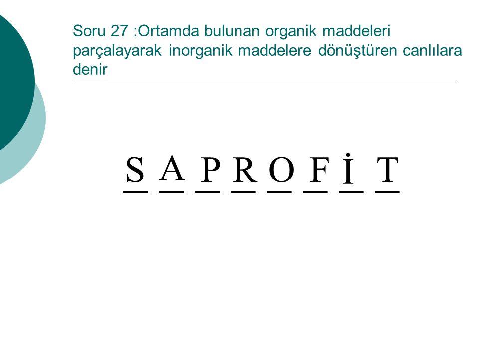 Soru 27 :Ortamda bulunan organik maddeleri parçalayarak inorganik maddelere dönüştüren canlılara denir _ _ _ _ A SFORT İ P