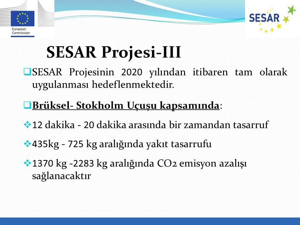  SESAR Projesinin 2020 yılından itibaren tam olarak uygulanması hedeflenmektedir.