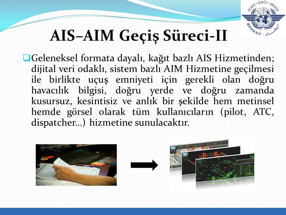  Geleneksel formata dayalı, kağıt bazlı AIS Hizmetinden; dijital veri odaklı, sistem bazlı AIM Hizmetine geçilmesi ile birlikte uçuş emniyeti için gerekli olan doğru havacılık bilgisi, doğru yerde ve doğru zamanda kusursuz, kesintisiz ve anlık bir şekilde hem metinsel hemde görsel olarak tüm kullanıcıların (pilot, ATC, dispatcher...) hizmetine sunulacaktır.