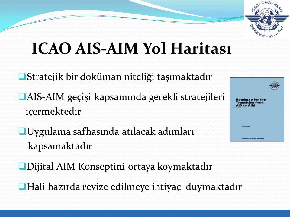 ICAO AIS-AIM Yol Haritası  Stratejik bir doküman niteliği taşımaktadır  AIS-AIM geçişi kapsamında gerekli stratejileri içermektedir  Uygulama safhasında atılacak adımları kapsamaktadır  Dijital AIM Konseptini ortaya koymaktadır  Hali hazırda revize edilmeye ihtiyaç duymaktadır