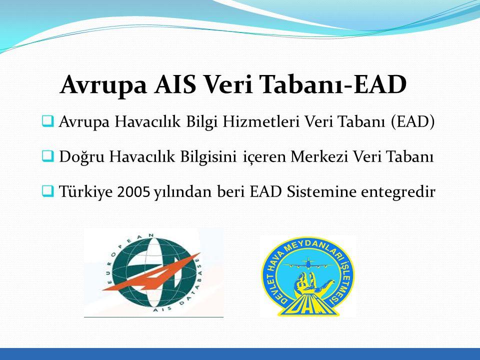  Avrupa Havacılık Bilgi Hizmetleri Veri Tabanı (EAD)  Doğru Havacılık Bilgisini içeren Merkezi Veri Tabanı  Türkiye 2005 yılından beri EAD Sistemine entegredir Avrupa AIS Veri Tabanı-EAD