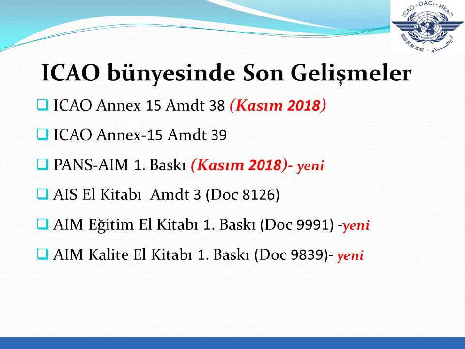  ICAO Annex 15 Amdt 38 (Kasım 2018)  ICAO Annex-15 Amdt 39  PANS-AIM 1.