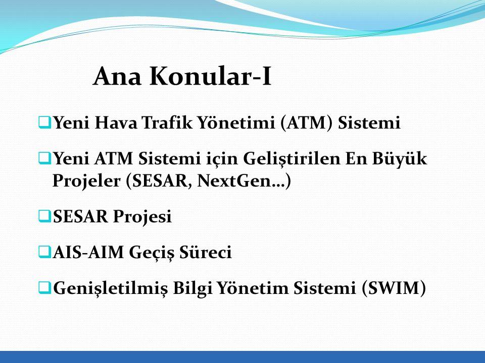  Yeni Hava Trafik Yönetimi (ATM) Sistemi  Yeni ATM Sistemi için Geliştirilen En Büyük Projeler (SESAR, NextGen…)  SESAR Projesi  AIS-AIM Geçiş Süreci  Genişletilmiş Bilgi Yönetim Sistemi (SWIM) Ana Konular-I