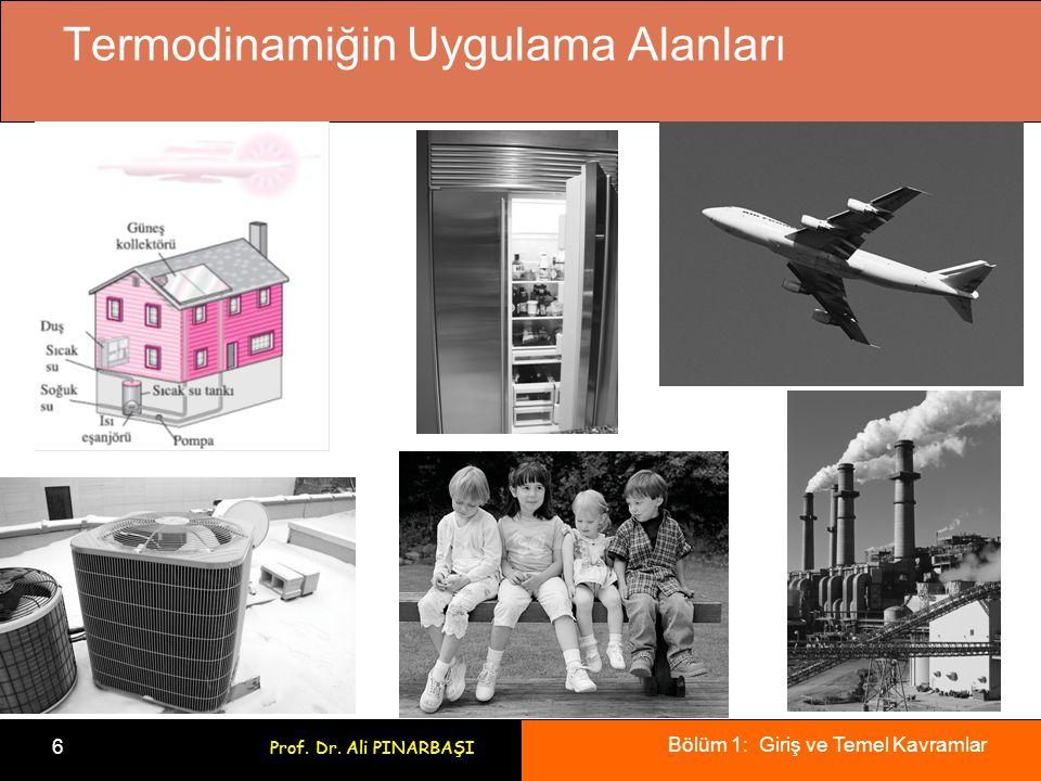 Bölüm 1: Giriş ve Temel Kavramlar 6 Prof. Dr. Ali PINARBAŞI Termodinamiğin Uygulama Alanları