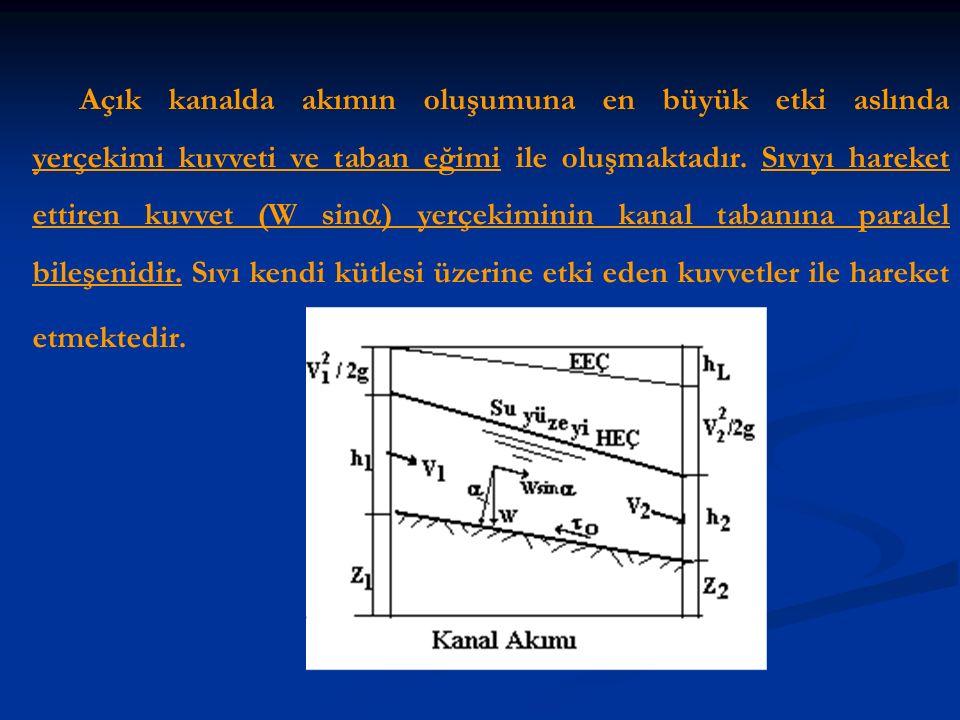 Açık kanalda akımın oluşumuna en büyük etki aslında yerçekimi kuvveti ve taban eğimi ile oluşmaktadır.