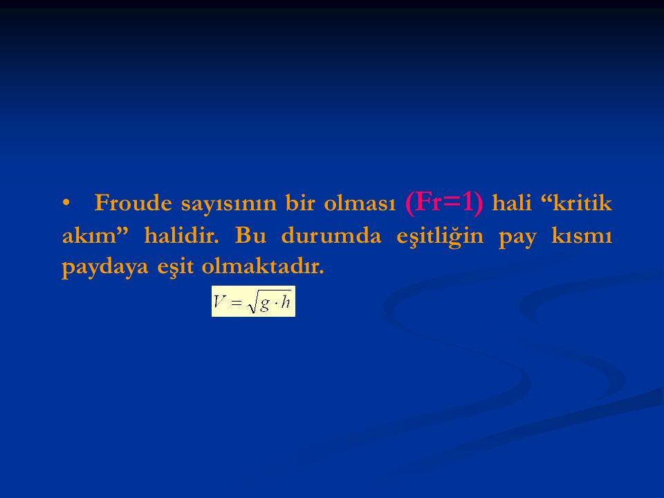 """Froude sayısının bir olması (Fr=1) hali """"kritik akım"""" halidir. Bu durumda eşitliğin pay kısmı paydaya eşit olmaktadır."""