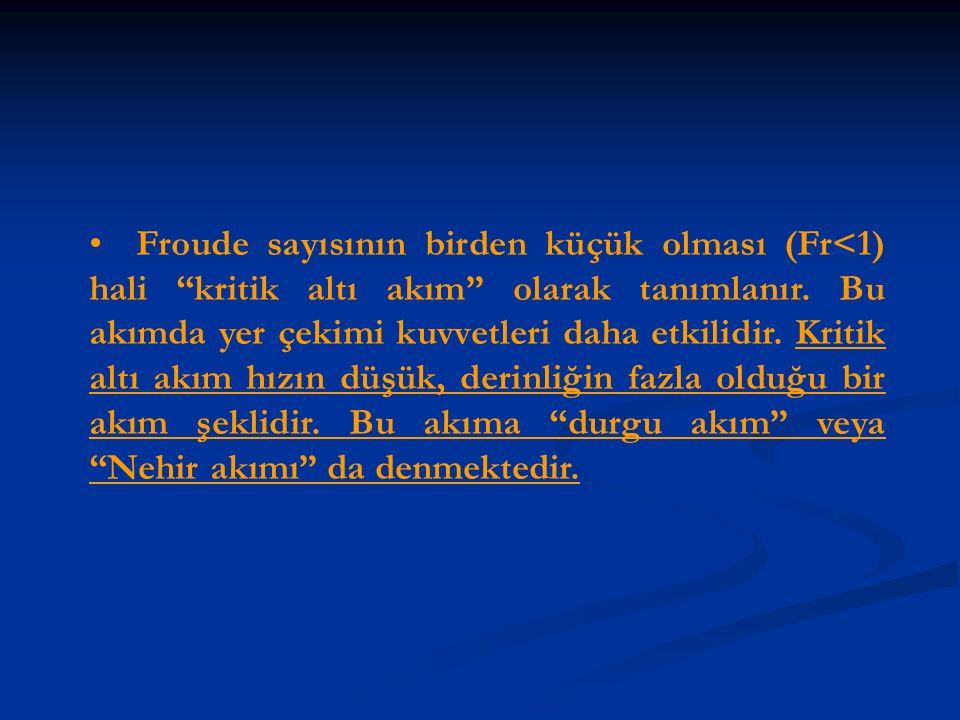 """Froude sayısının birden küçük olması (Fr<1) hali """"kritik altı akım"""" olarak tanımlanır. Bu akımda yer çekimi kuvvetleri daha etkilidir. Kritik altı akı"""