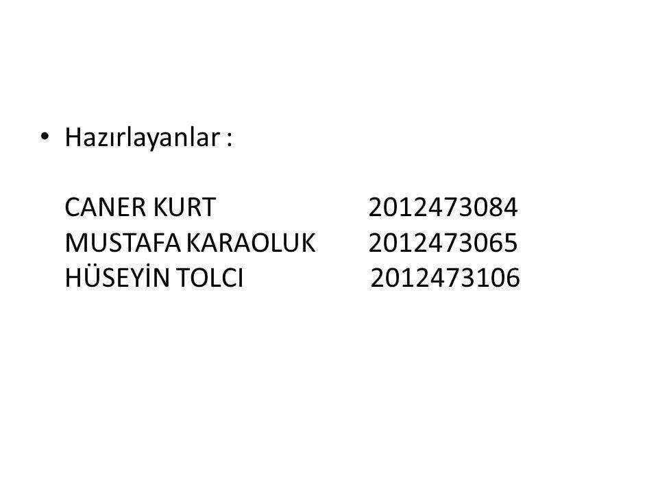 Hazırlayanlar : CANER KURT 2012473084 MUSTAFA KARAOLUK 2012473065 HÜSEYİN TOLCI 2012473106