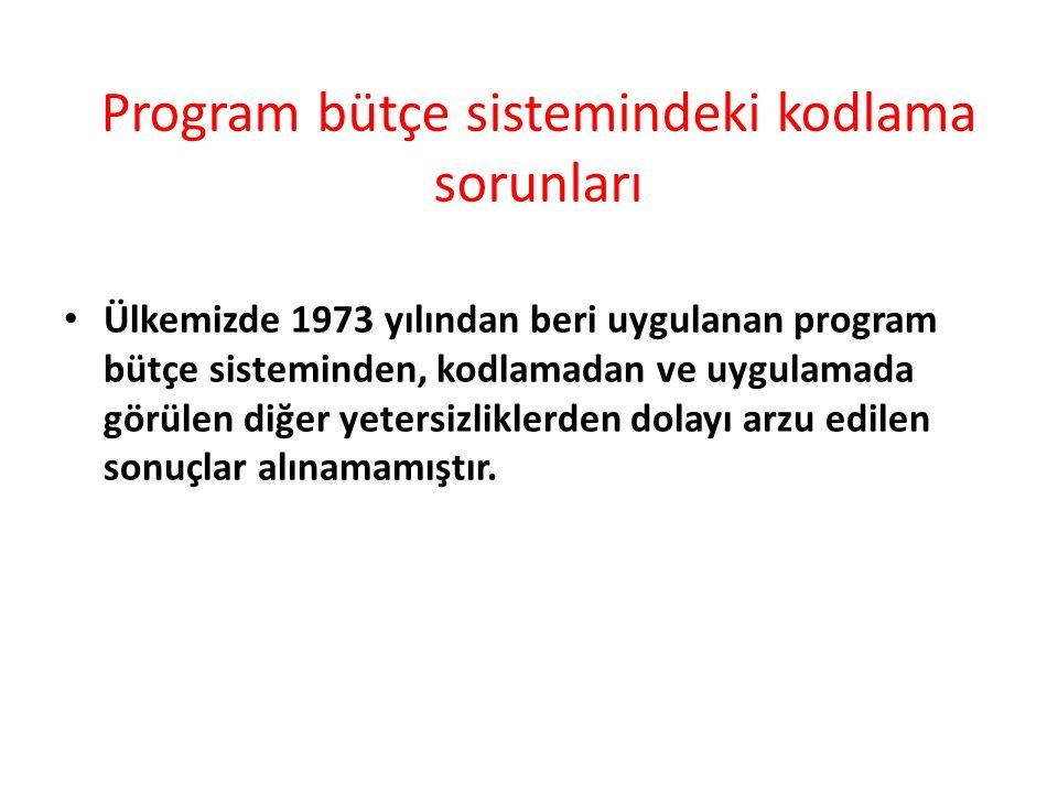 Program bütçe sistemindeki kodlama sorunları Ülkemizde 1973 yılından beri uygulanan program bütçe sisteminden, kodlamadan ve uygulamada görülen diğer yetersizliklerden dolayı arzu edilen sonuçlar alınamamıştır.