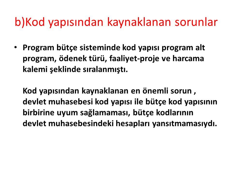 b)Kod yapısından kaynaklanan sorunlar Program bütçe sisteminde kod yapısı program alt program, ödenek türü, faaliyet-proje ve harcama kalemi şeklinde sıralanmıştı.