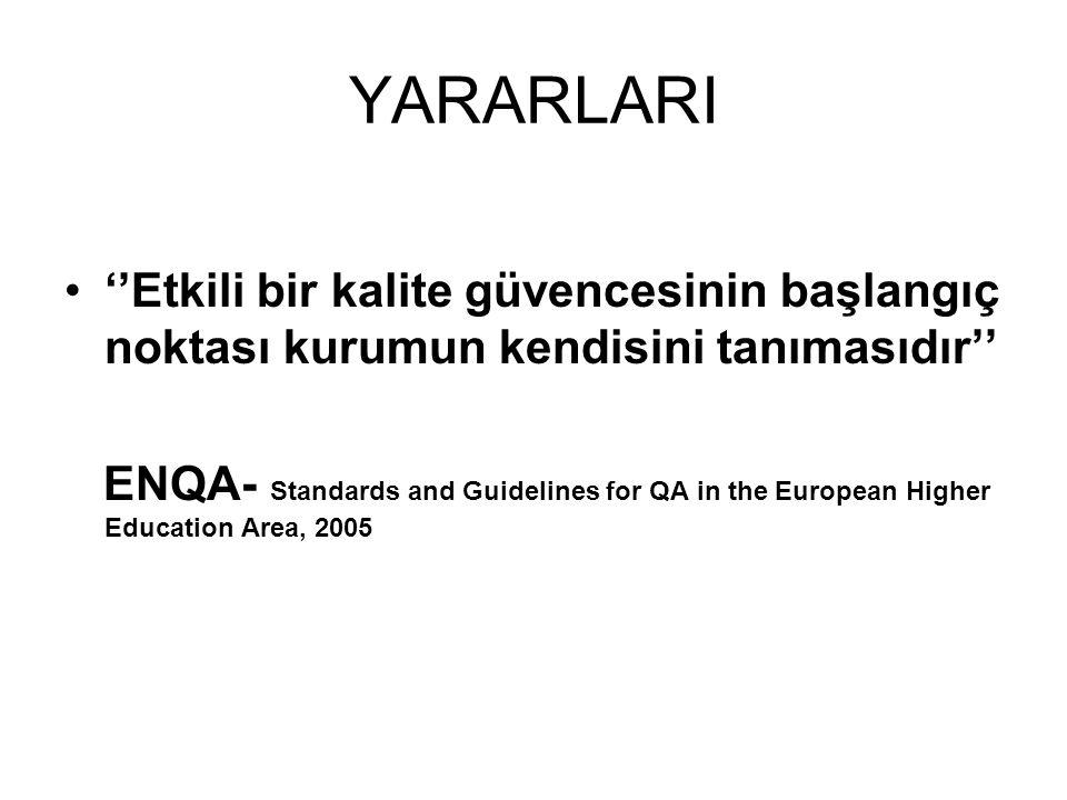 YARARLARI ''Etkili bir kalite güvencesinin başlangıç noktası kurumun kendisini tanımasıdır'' ENQA- Standards and Guidelines for QA in the European Higher Education Area, 2005