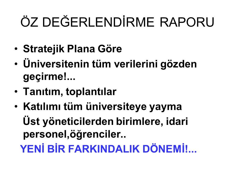 ÖZ DEĞERLENDİRME RAPORU Stratejik Plana Göre Üniversitenin tüm verilerini gözden geçirme!...