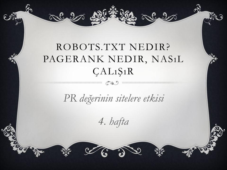 ROBOTS.TXT NEDIR? PAGERANK NEDIR, NASıL ÇALıŞıR PR değerinin sitelere etkisi 4. hafta