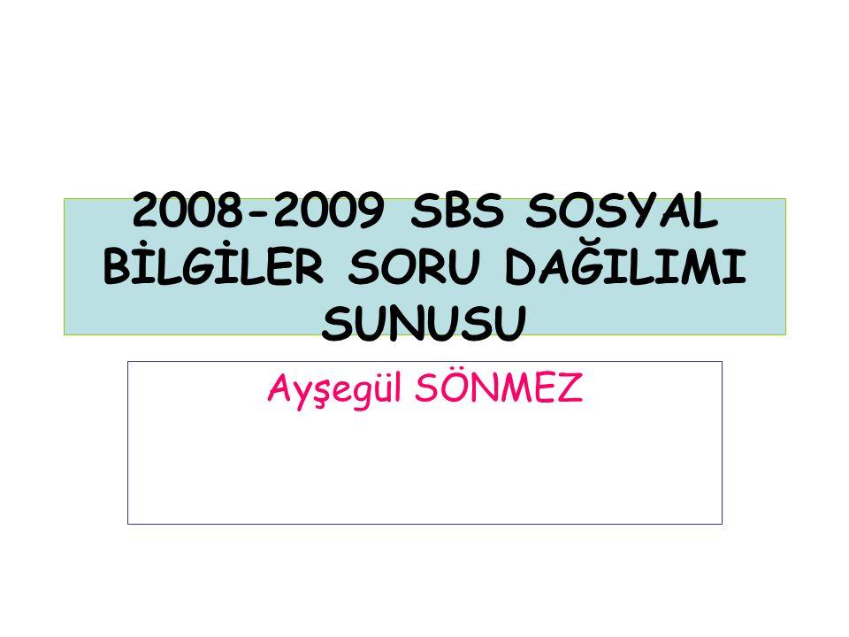 2008-2009 SBS SOSYAL BİLGİLER SORU DAĞILIMI SUNUSU Ayşegül SÖNMEZ