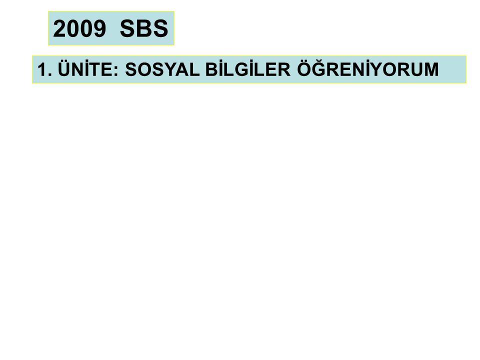 2009 SBS 1. ÜNİTE: SOSYAL BİLGİLER ÖĞRENİYORUM
