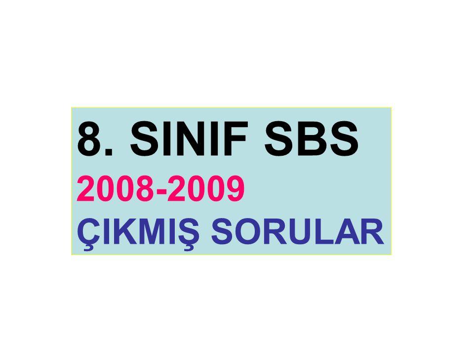 8. SINIF SBS 2008-2009 ÇIKMIŞ SORULAR
