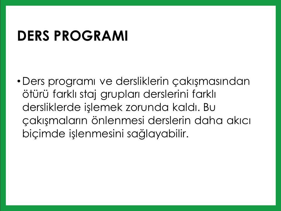 DERS PROGRAMI Ders programı ve dersliklerin çakışmasından ötürü farklı staj grupları derslerini farklı dersliklerde işlemek zorunda kaldı.