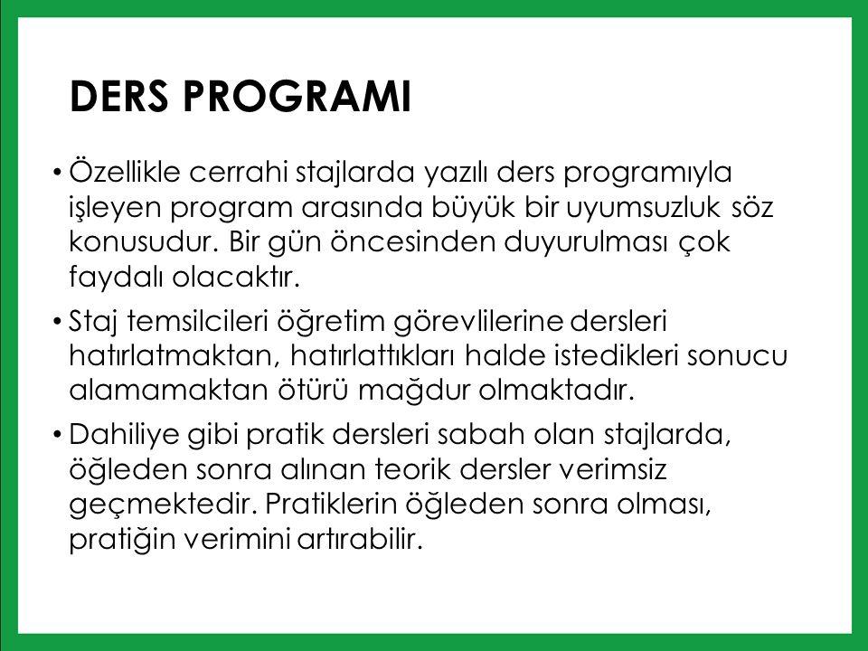 DERS PROGRAMI Özellikle cerrahi stajlarda yazılı ders programıyla işleyen program arasında büyük bir uyumsuzluk söz konusudur.