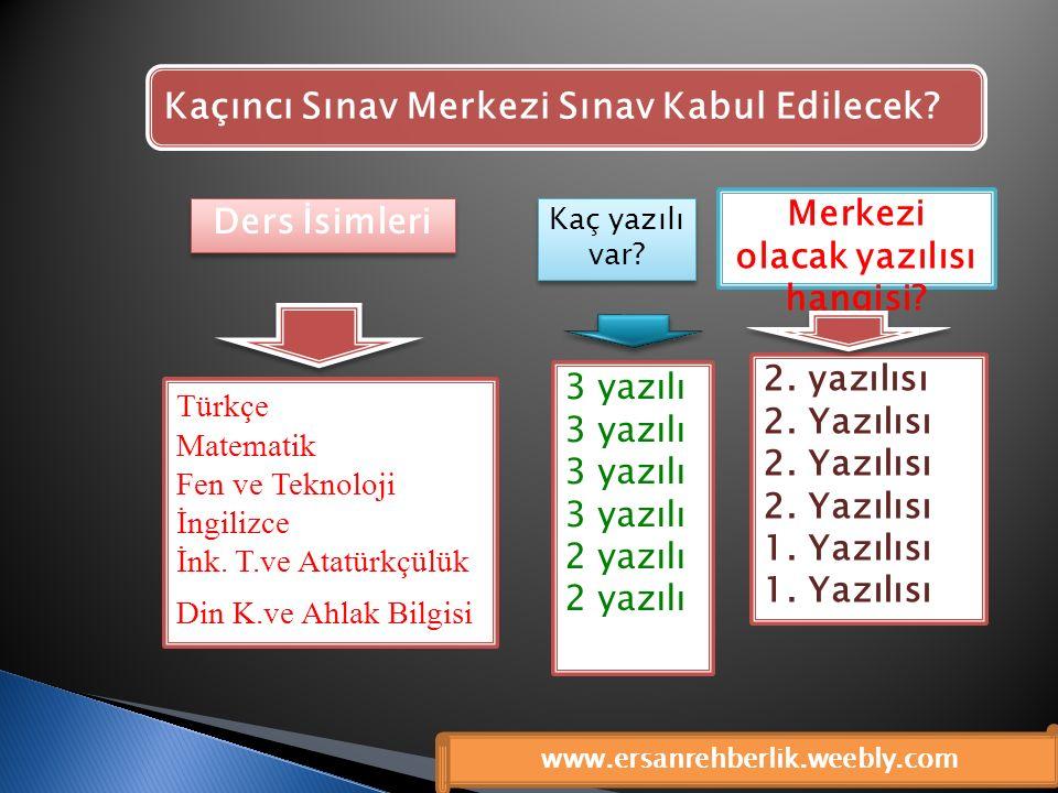 Türkçe Matematik Fen ve Teknoloji İngilizce İnk. T.ve Atatürkçülük Din K.ve Ahlak Bilgisi 3 yazılı 2 yazılı 2. yazılısı 2. Yazılısı 1. Yazılısı Merkez