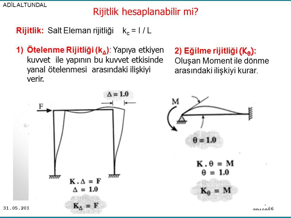 31.05.2016 ADİL ALTUNDAL SAYFA66 Rijitlik: Salt Eleman rijitliği k c = I / L 1)Ötelenme Rijitliği (k Δ ): Yapıya etkiyen kuvvet ile yapının bu kuvvet etkisinde yanal ötelenmesi arasındaki ilişkiyi verir.