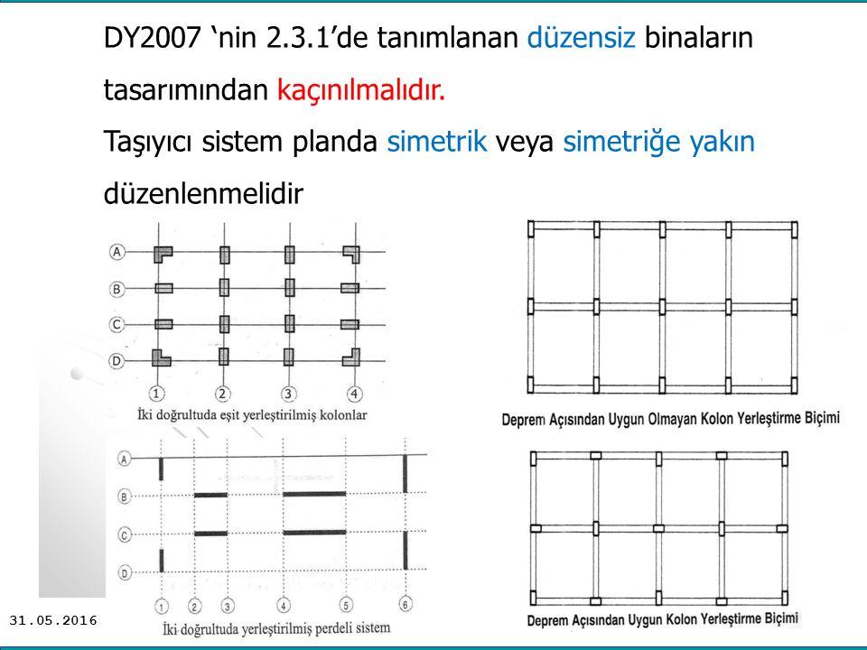 31.05.2016 DY2007 'nin 2.3.1'de tanımlanan düzensiz binaların tasarımından kaçınılmalıdır.